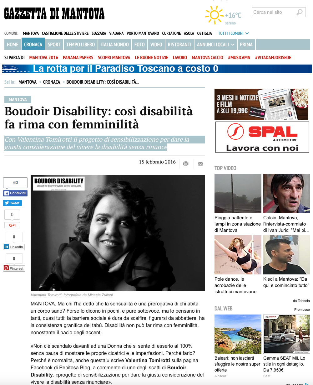 Boudoir Disability: così disabilità fa rima con femminilità