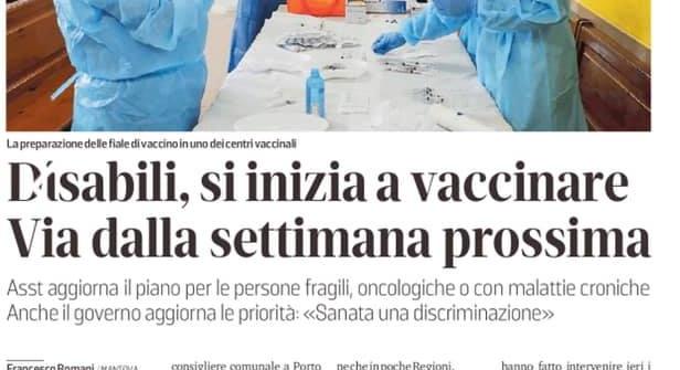 Disabili, si inizia a vaccinare